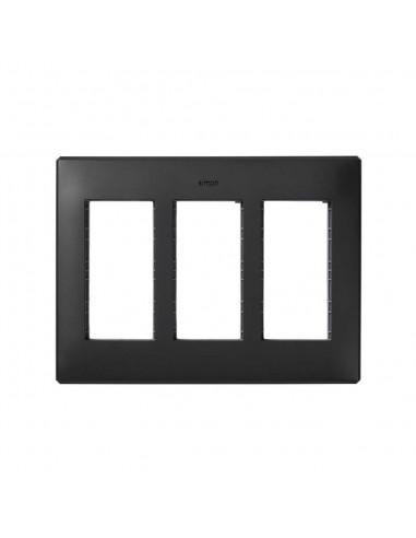 Marco caja empotrar en pared S500 de 3 módulos, gris grafito