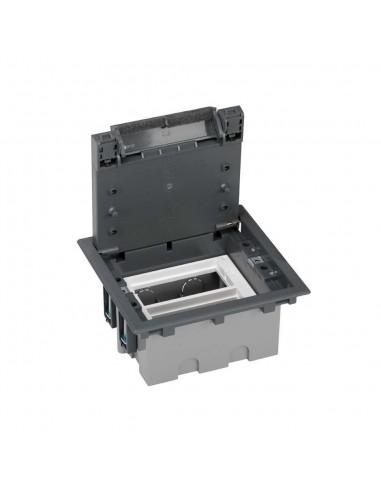 Caja de suelo S500, 2 módulos. Profundidad regulable 90-120 mm, gris