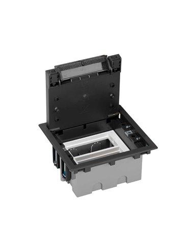 Caja de suelo S500, 2 módulos. Profundidad regulable 90-120 mm, grafito