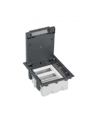 Caja de suelo S500, 3 módulos. Profundidad regulable 90-120 mm, gris