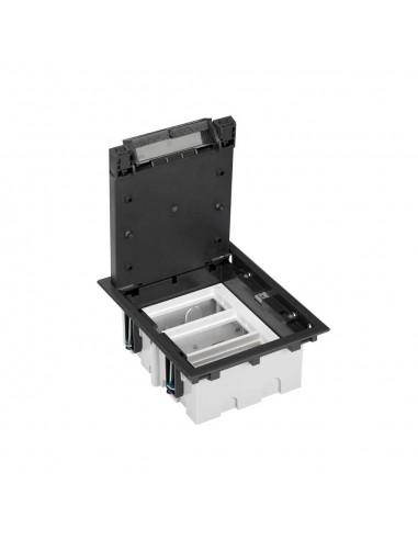 Caja de suelo S500, 3 módulos. Profundidad regulable 90-120 mm, grafito