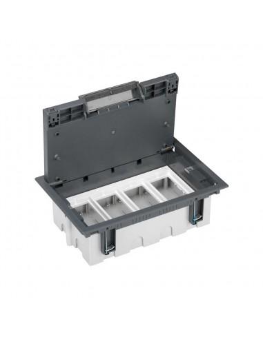 Caja de suelo S500, 4 módulos. Profundidad regulable 90-120 mm, gris