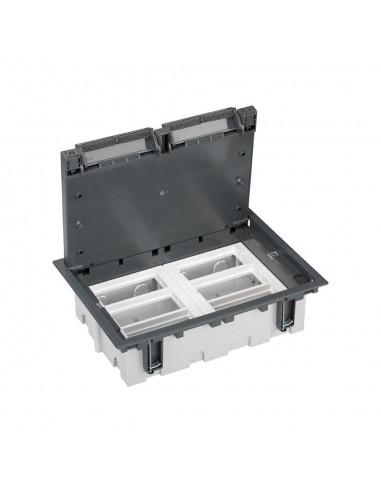 Caja de suelo S500, 6 módulos. Profundidad regulable 90-120 mm, gris