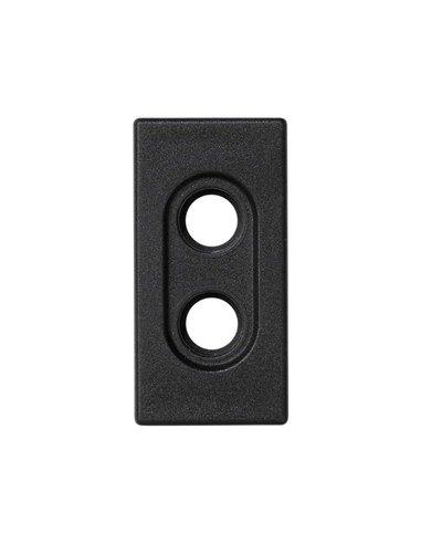 Placa 45x22.5 para 2 conectores RCA, grafito
