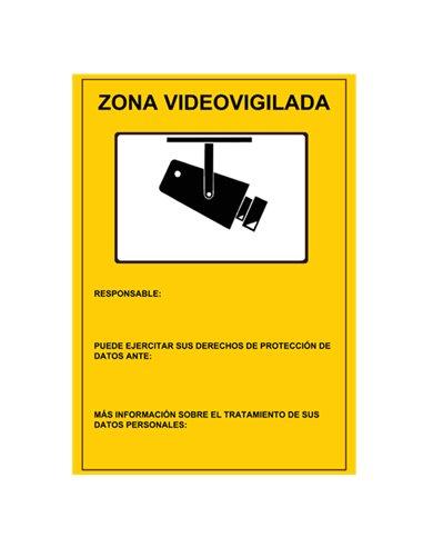 Cartel zona video vigilada Din A4