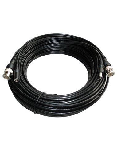 Cable coaxial alargador para señales de vídeo y alimentación. Conectores BNC. 20 metros.