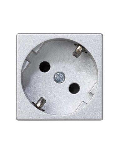 Schuko de embornamiento rápido K45. Color aluminio