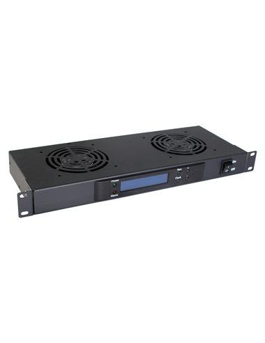 """Unidad de ventilación 19"""" 1U con termostato + 2 ventiladores"""