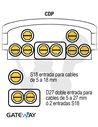 Caja de empalme de fibra IP68 (CDP) BPE/O-2, 336 fusiones, 1 puerto doble S5-27 y 6 simples S5-18 u 8 simples S5-18