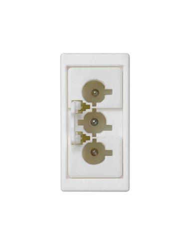 Placa 45x22.5 mecanismo con 1 conector conexión rápida macho 3 polos, blanco