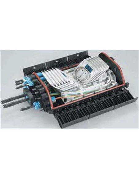 Caja de empalme de fibra IP68 (CDP) BPE/O-3, 576 fusiones, 1 puerto doble S5-27 y 6 simples S5-18 u 8 simples S5-18