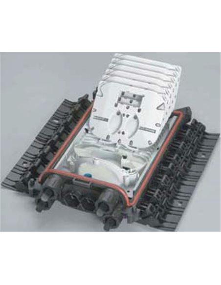 Caja de empalme de fibra IP68 (CDP), BPE/O-1, 144 fusiones, 1 puerto doble D5-20 y 2 simples S5-18 ó 2xS5-18 + 2xS4-12