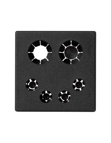Placa K45 salida de cables con retenedor incluido (2 x13mm y 4 x6mm)