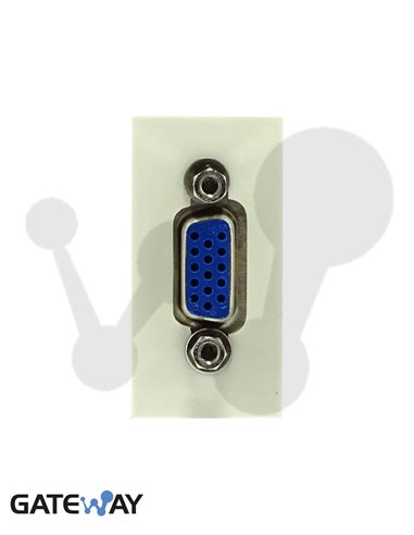 Modulo de 45x22,5 con conector VGA Hembra 15 vias, conexión tornillos, blanco