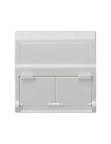Placa 45x45 inclinada con ventanilla para 2 módulos MD, Blanco nieve
