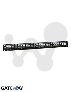 Panel RJ45, Aluminio negro para 24 tomas 3M®