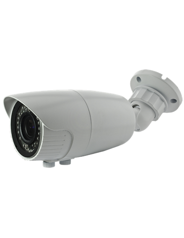 "Cámara bullet HD 2.13 Mp, 1080p, sensor 1/2.8"", varifocal 2.7~13.5 mm. IR 40 metros. IP66. Blanca"