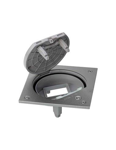 Unidad portamecanismos caja estanca con cierre de seguridad para 1 mecanismo K45, acero inoxidable