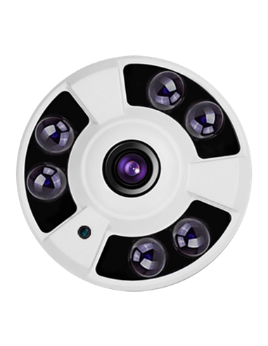 "Cámara domo HD 2.0 Mp, 1080p, sensor 1/3"", lente 1.8 mm gran angular. IR alcance 50 metros."