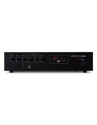 Amplificador 90 W RMS. Phantom. Reproductor USB/SD/MP3. FM digital. Prioridad de avisos.