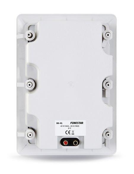 Altavoz de techo de baja impedancia con rejilla rectangular y caja. 40 W máximo, 20 W RMS