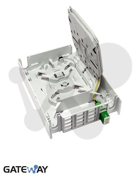 Roseta para 24 fibras ópticas (16 conectores SC ó 24 LC), 210x160x65 mm