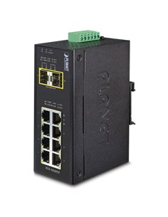 Switch industrial 8 puertos 10/100/1000 + 2xSFP,  IP-30, (-40,+75ºC), 12 a 48 Vdc