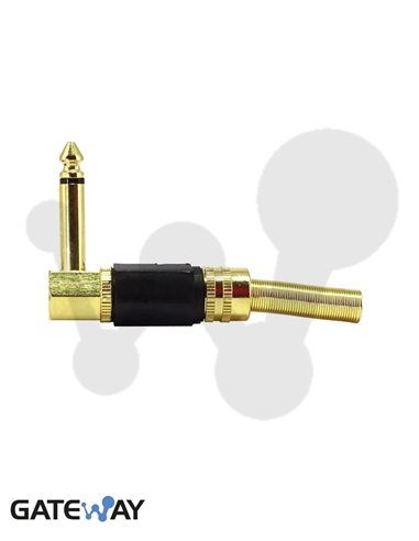 Jack 6.3 mm, macho mono metálico acodado dorado