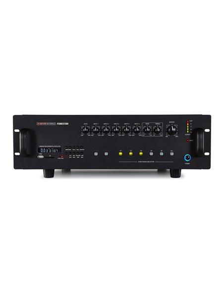 Amplificador 400W RMS, 450W max, grabador/reproductor USB/SD/MP3, sintonizador FM, zonas, prioridad avisos