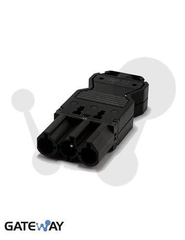 Conector rápido aéreo macho de 3 polos conexión por tornillo