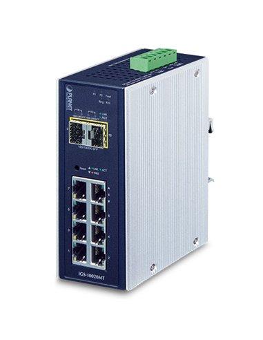 Switch industrial gestionable 8 puertos 10/100/1000 + 2xSFP,  IP-30, (-40,+75ºC), 12 a 48 Vdc