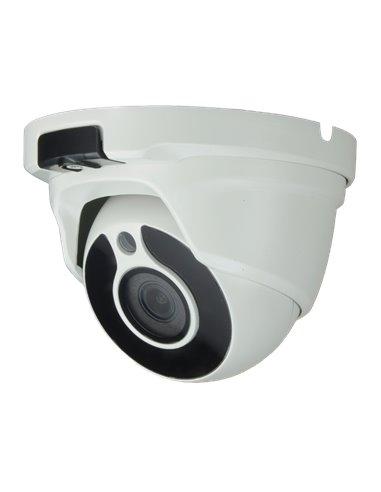 "Cámara domo HD 2.0 Mp, 1080p, sensor 1/2.7"", lente 3.6 mm, IR 20 metros. IP66."