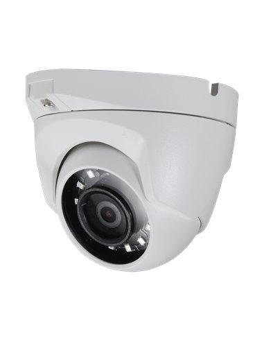 "Cámara domo HD 2.1 Mp, 1080p, sensor 1/2.7"", lente gran angular 2.1 mm. IR alcance 30 metros. IP66."