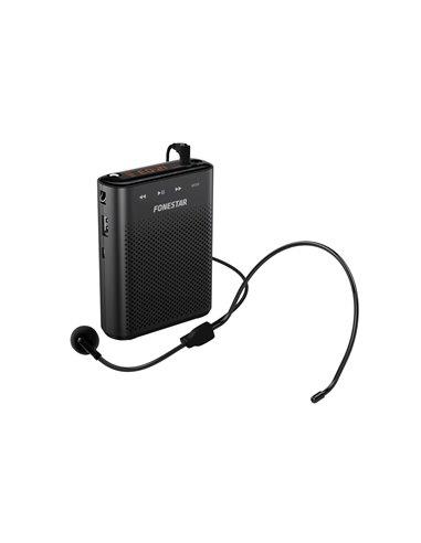 Amplificador portátil para cintura. 30 W máximo. Grabador/reproductor USB/MicroSD/MP3.