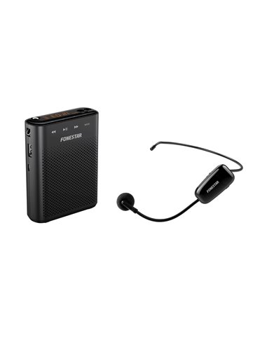 Amplificador inalámbrico portátil para cintura. 30 W máximo. Grabador/reproductor USB/MicroSD/MP3.