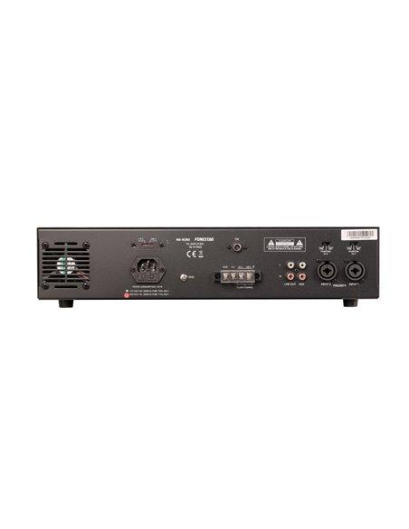 Amplificador 90W RMS, con reproductor USB/SD/MP3/FM, prioridad de avisos